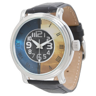 morning and night skies leather watch