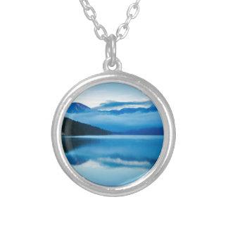 Morning at Lake Bohinj in Slovenia Round Pendant Necklace
