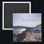 """Morning at Santorini Greece Souvenir Fridge Magnet<br><div class=""""desc"""">Tip: Dated travel souvenir magnets are a fun way to keep a chronology of your travels and it&#39;s easy to add a date. https://creativecommons.org/licenses/by/2.0/</div>"""