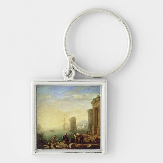 Morning at the Port, 1640 (oil on canvas) Keychain
