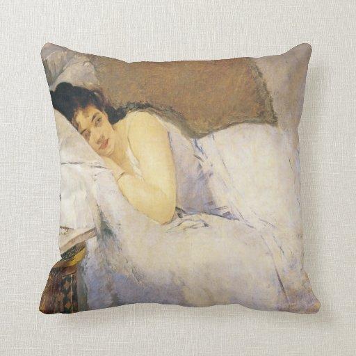 Morning Awakening, Eva Gonzales Throw Pillow