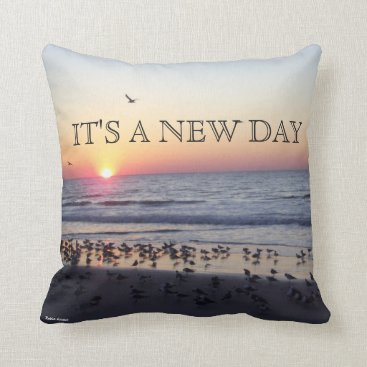 Beach Themed MORNING BEACH SUNRISE THROW PILLOW