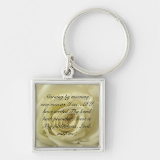 Morning by morning new mercies I see... Silver-Colored Square Keychain