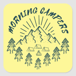 morning campers square sticker