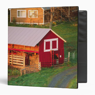 Morning chores on the farm. USA, Vermont, 3 Ring Binder