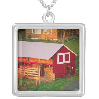 Morning chores on the farm. USA, Vermont, Square Pendant Necklace