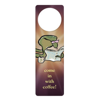 morning cobra reading the news, with editable text door hanger
