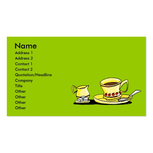 Morning coffe, cream and sugar Double-Sided standard business cards (Pack of 100)