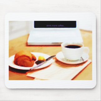 Morning Coffee and Croissant Mouse Pad