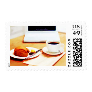 Morning Coffee and Croissant Postage Stamp