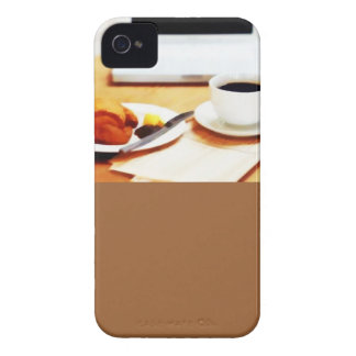 Morning Coffee, Computer and Croissant iPhone 4 Cases
