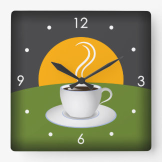 Morning Coffee Cup Cafe Square Wall Clock