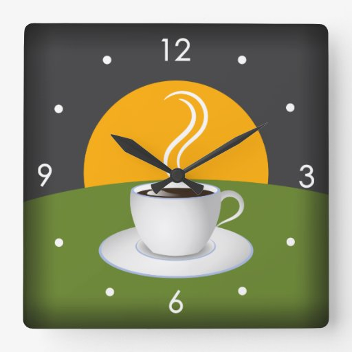 Morning Coffee Cup Cafe Square Wall Clock Square Wall Clocks