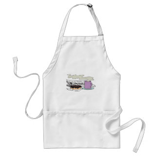 morning coffee donut and newspaper paper design adult apron