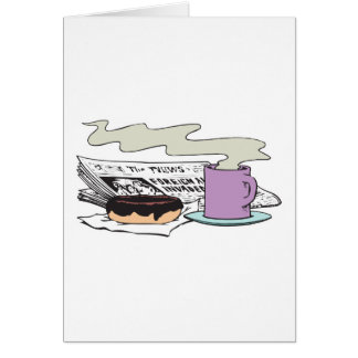 morning coffee donut and newspaper paper design card