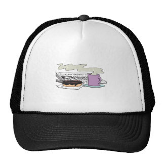 morning coffee donut and newspaper paper design trucker hat