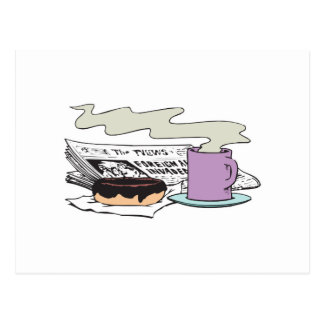morning coffee donut and newspaper paper design postcard