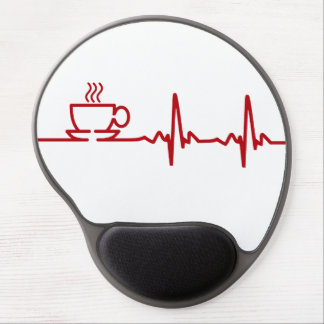 Morning Coffee Heartbeat EKG Gel Mouse Pad