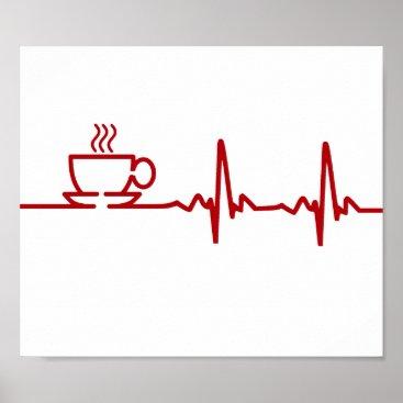 Coffee Themed Morning Coffee Heartbeat EKG Poster