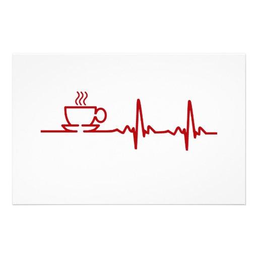 Morning Coffee Heartbeat EKG Stationery Design