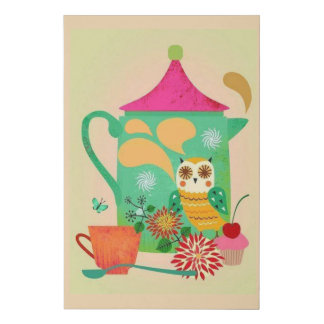 Morning Coffee Owl Faux Canvas Print