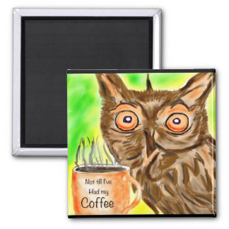 Morning Coffee owl 2 Inch Square Magnet