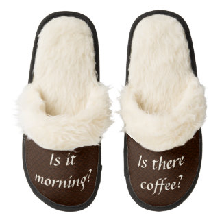 Morning Coffee Slippers Pair Of Fuzzy Slippers