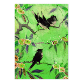 Morning Colors: Bird Painting in Green and Gold Large Business Card