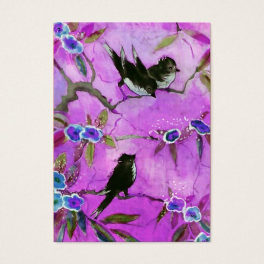 Morning Colors: Bird Painting in Lilac and Purple Business Card