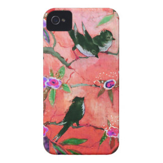 Morning Colors: Bird Painting in Peach and Fuchsia iPhone 4 Cover