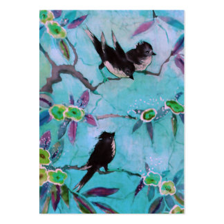 Morning Colors: Bird Painting in Turquoise & Green Large Business Card