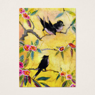 Morning Colors: Bird Painting in Yellow and Pink Business Card