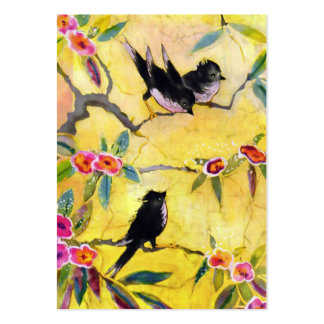Morning Colors: Bird Painting in Yellow and Pink Large Business Card
