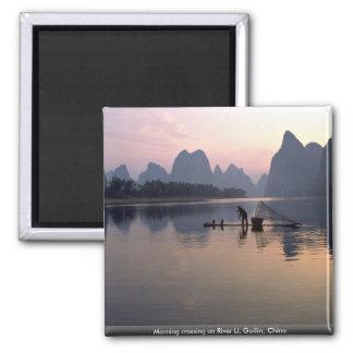 Morning crossing on River Li, Guilin, China Magnet