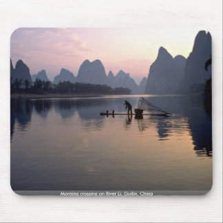 Morning crossing on River Li, Guilin, China Mouse Pad
