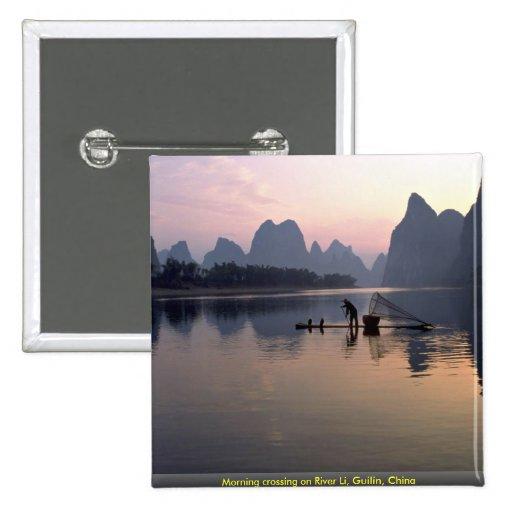 Morning crossing on River Li, Guilin, China Pins