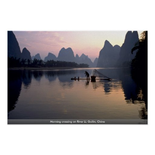 Morning crossing on River Li, Guilin, China Posters
