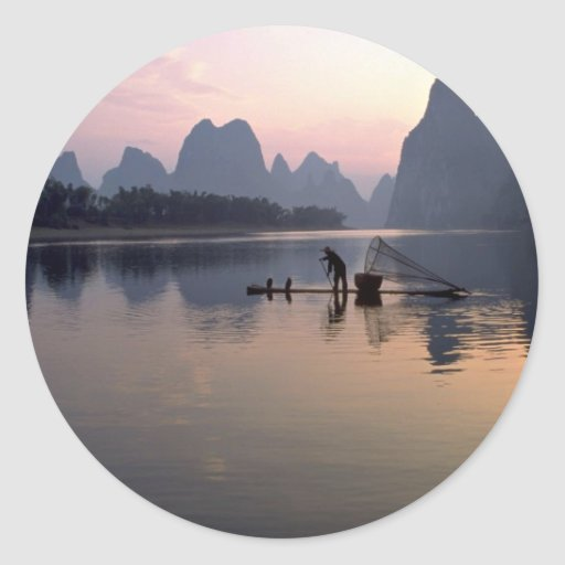 Morning crossing on River Li, Guilin, China Classic Round Sticker