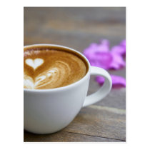 Morning Cup Latte with Heart-Shaped Foam Postcard