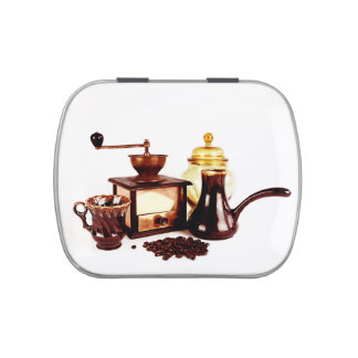 morning cup of coffee with coffeemill jelly belly tins