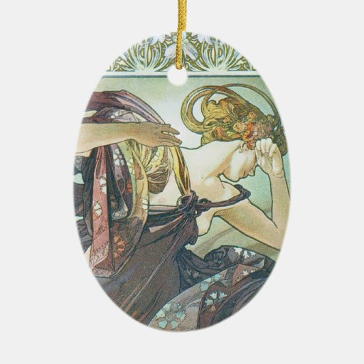 Morning Dawn Double-Sided Oval Ceramic Christmas Ornament