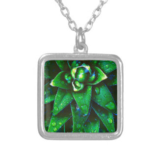Morning Dew On Plant Silver Plated Necklace