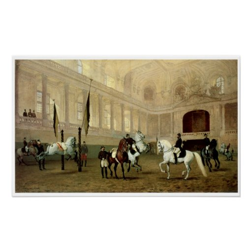 Morning Exercise in the Winter Riding School Poster