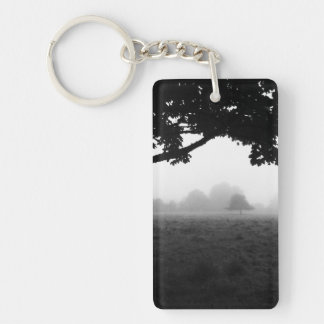 Morning Fog Emerging From Trees Double-Sided Rectangular Acrylic Keychain
