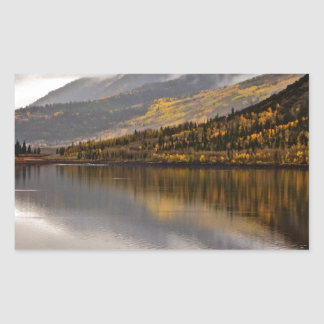 MORNING FOG IN LATE FALL AT THE LAKE RECTANGULAR STICKER