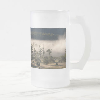 Morning Fog in the Adirondacks Frosted Glass Beer Mug
