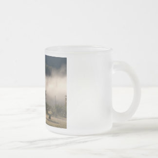 Morning Fog in the Adirondacks Frosted Glass Coffee Mug