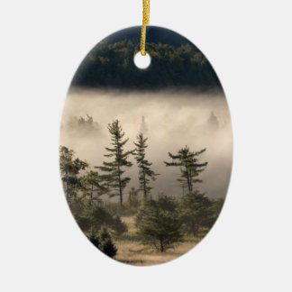 Morning Fog in the Adirondacks Double-Sided Oval Ceramic Christmas Ornament