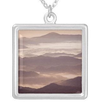 Morning fog in the southern Appalachian Square Pendant Necklace