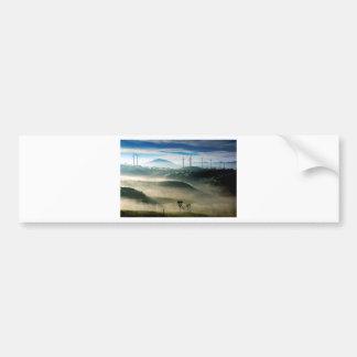 Morning fog in wind farm scenic landscape bumper sticker